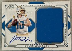 2020 Justin Herbert National Treasures True RPA Rookie Patch On Card Auto /99