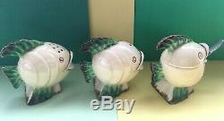 Art Deco Clarice Cliff Wilkinson Ltd Mr Fish Complete Three Piece Cruet Set