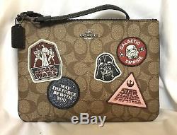 Coach F88545 X Star Wars Khaki Multi Signature Wrislet Patch Pouch Bag- NWT