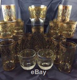 Culver, LTD. Valencia 22K Gold Vintage Mid Century Modern Barware, 20 Piece Set