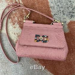DOLCE & GABBANA Bag Purse MISS SICILY Pink IGUANA PRINT LOGO patch