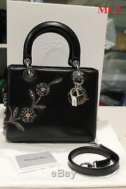 Dior Lady Dior Patch Floral Embellished Leather black Medium Limited edition bag