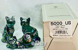 Fenton, Cats, 3 Piece set, Spruce Green Carnival, Numbered Limited Edition, Hand