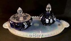 Fenton HandPainted Royal Purple 3 Piece Vanity Set LTD 1000 Nancy & Shelly 2003
