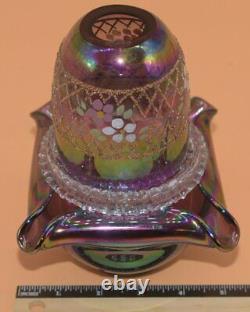 Fenton Purple Irridescent 3-Piece Square Base Hand-Painted Florals Lattice