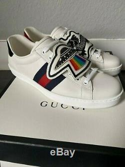 Gucci Ace with UFO's and Dragons Patch Leather Sneaker Size 10.5