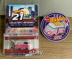 Hot Wheels 21st Nationals Convention 2021 Pink & White Kool Kombi RR with Patch