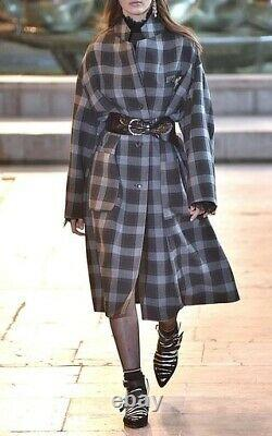 ISABEL MARANT virgin wool checked long coat 34 RUNWAY collection piece NEAR NEW