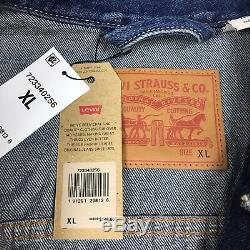Levis Mens Denim Jean Trucker Jacket Size XL Extra Large Patch NWT