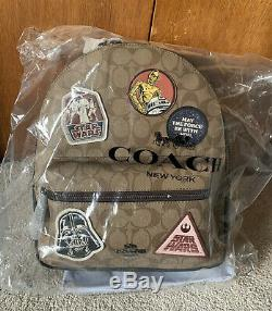 NEW Coach Star Wars Medium Patch Brown Signature Backpack Bag Purse Vader $428