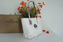 NWT Coach 38691 Disney Minnie Mouse Patch Chalk Leather City Zip Top Tote $325