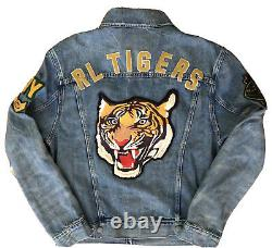 NWT POLO RALPH LAUREN Mens P Patch R L Tigers Denim Trucker Jacket Sz Med