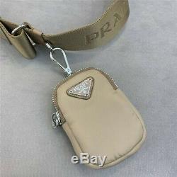 PRADA Nylon Re-Edition 2005 Shoulder Bag Cameo Beige / Rare Piece