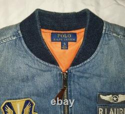 Polo Ralph Lauren Limited Edition Denim Patch Flight Bomber Jacket Coat rrl XL