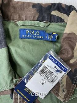 Polo Ralph Lauren M-65 Camouflage Military USA Flag Skull Patch Field Jacket L