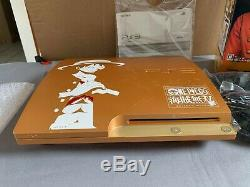 Sony Playstation 3 Ps3 One Piece Limited Edition Gold In Box (black Controller)
