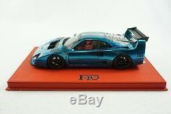 1/18 Bbr Ferrari F40 LM Chrome Bleu / Italie De Luxe En Cuir Rouge Limitée 2 Pièces