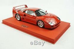 1/18 Bbr Ferrari F40 Rosso Corsa Main Droite Dr Deluxe En Cuir Rouge Le 2 Pièces M.