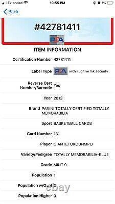 2013 Totalement Certifié Giannis Antetokounmpo Rc Blue /99 Rookie Psa 9 Mint Pop 1