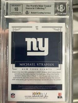 2016 Trésors Nationaux Michael Strahan NFL Shield Auto #1/1 Bgs 9 Autographe 1/1