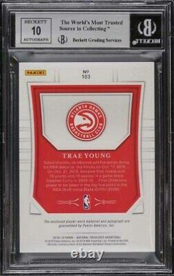 2018 National Treasures Ltd. Blue Trae Young Rookie Rc Patch Auto 3/3 Bgs 9 Mint