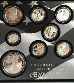2018 U. S. Mint Édition Limitée Set En Argent Épreuve Numismatique Avec Box & Coa 8 Pieces
