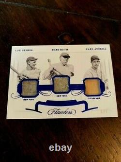 2020 Flawless Lou Gehrig Babe Ruth Earl Averill Jeu Relic Card D'occasion #6/7