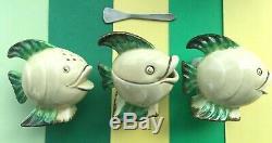 Art Déco Clarice Cliff Wilkinson Ltd Ensemble De Trois Cuillères À Poisson Complet M. Fish