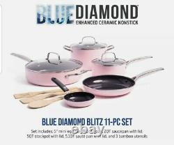 Blue Diamond Pan Pink Limited Edition Cookware 11 Piece Set Tout Nouveau Antiadhésif