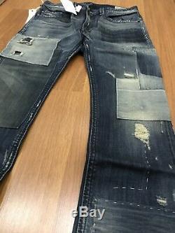 Bnwt Diesel Thavar 0838j Limited Edition Patch Slim Distressed Jeans Super Rare