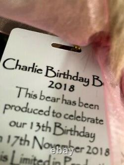 Charlie Bears Retraité 2018 Anniversaire Ours Ltd 2000 Pièces Signed