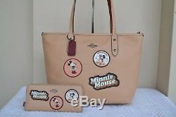 Coach Tno Disney Minnie Mouse Patch City Zip Tote Sac En Cuir De Hêtre Et Portefeuille
