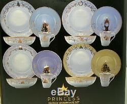Disney Princess Designer 16 Piece Dinnerware Plate Bowl Tasse Set Limited Edition