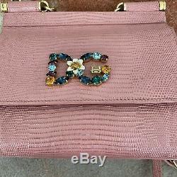 Dolce & Gabbana Sac Bourse Miss Sicile Rose Iguane Patch Imprimer Logo