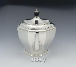 Élégant Argent Art Déco 3 Pièces À Thé Octogonal William Neale & Sons Ltd 1931