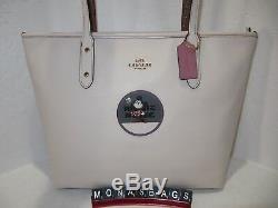 Entraîneur 38691 Disney Minnie Mouse Patch Fourre-tout Fourre-tout En Cuir Ville Craie Nwt $ 325