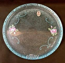 Fenton Art Glass Aquamarine Peint À La Main 3 Pièces Dresser Edition Limitee