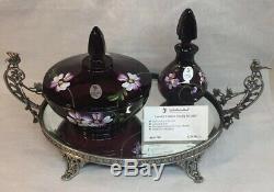 Fenton Art Glass Peint À La Main Aubergine 3 Piece Vanity Set Limited