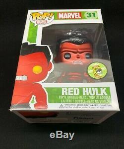 Funko Pop Métallisé Rouge Hulk 31 Boîte Endommagée Sdcc 2013 Édition Limitée 480 Pièces