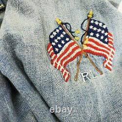 Hommes Polo Ralph Lauren Western Patchwork Denim Button Down S Shirt Ltd Edition