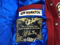 Jeff Hamilton Nba Patch Taille 4xl Jacket Edition Limitée Coton Finition Cuir Rouge