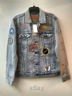 Levi's Limited Edition Patch Graffiti Trucker Jacket Taille M $ Californie Nwt 400