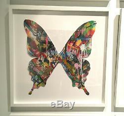 Martin Whatson Papillon Cutout Peinte À La Main Signé Piece Art Originale Encadrée