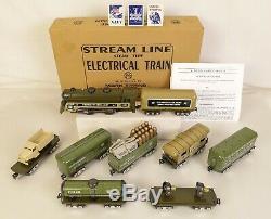 Marx # 10471 Us Army (9) Ensemble De Train De Ravitaillement Militaire Électrique Mis En Marche Mib