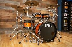 Natal Originals Maple Ltd Edition 4 Piece Drum Kit, Piano Noir / Étincelle Orange