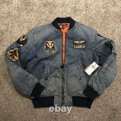 Nouveau! Polo Ralph Lauren Limited Edition Denim Patch Flight Bomber Jacket Sz Small