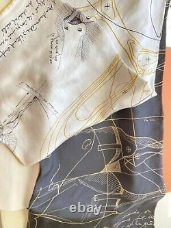 Nouvelle Pièce Collectrice De Hermes! Echarpe De Lavage Le Pegase D'hermes Cut 140 Blanc/noir