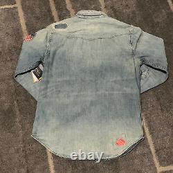 Polo Ralph Lauren Limited Edition Western Patchwork Denim Button Down Shirt Sz M
