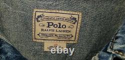 Polo Ralph Lauren Mens Varsity Tigers Football Letterman Patch Denim Jacket L