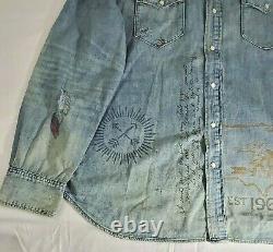 Polo Ralph Lauren Mens Western Patchwork Denim Button Down M Shirt Ltd Edition